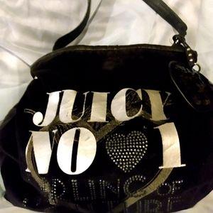 Juicy Couture black velour hobo handbag